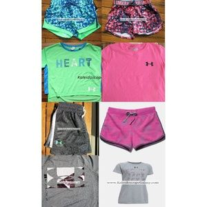 Under Armour Small 8pc Shorts & Tops Pink Gray NEW